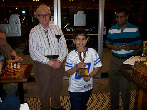 Nikhil Pallem receives an U-1200/Unr. Champion Trophy (Tied with 2 others.)