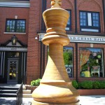 "Home of the World's Largest Chess Piece, 14'7"" tall."