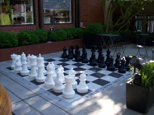 First time I've ever been with a chess set this large - helped move pieces in a blindfold game during a break!