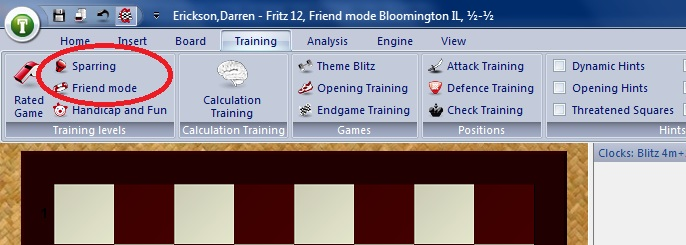 Training modes in Fritz 12